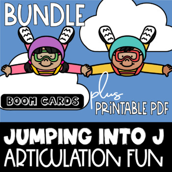 Jumping into J Sound Boom Cards plus Printable PDF | speech therapy