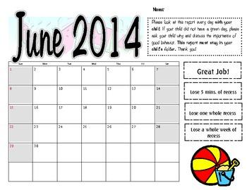 June 2014 Behavior Log