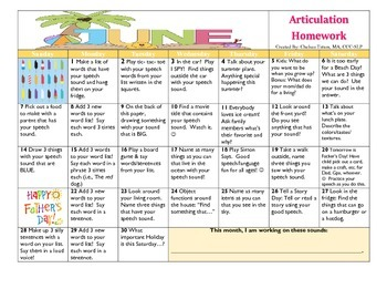 June 2015 Articulation Homework Calendar