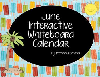 June 2018 Interactive Whiteboard Calendar