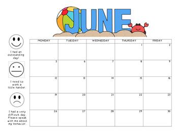 June 2017 Behavior Calendar