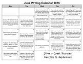 June 2016 Writing Calendar