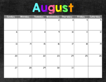 June 2017-July 2018 Monthly Calendars