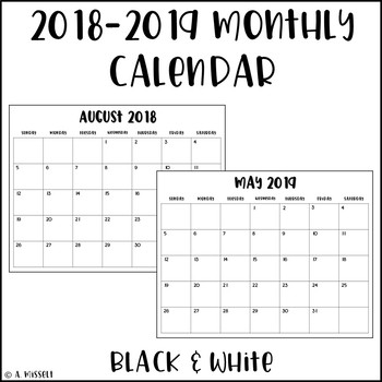 June 2018- December 2019 Monthly Calendar Black and White