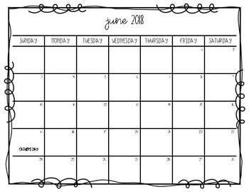 June 2018 - June 2019 Calendar