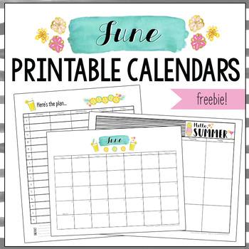 June 2018 Printable Monthly, Weekly, and Hourly Calendars - FREEBIE