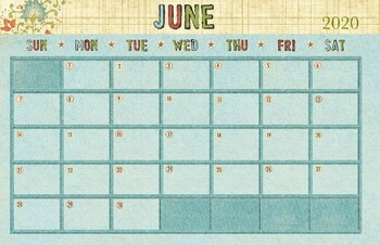 2020 Calendar 11x17 June 2020 Calendar   11x17 by Drawn to Learn | Teachers Pay Teachers