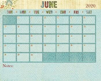 June 2019 Calendar - 8x12