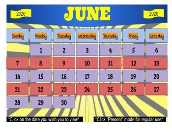 June 2020 Interactive Calendar/Lesson Planner-For any Class (Google Slides)