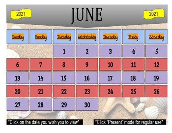 June 2021 Interactive Calendar/Lesson Planner-For any Class (Google Slides)