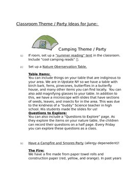 June Activities, Theme Parties, and Fun Pages
