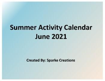 June 2018 Activity Calendar