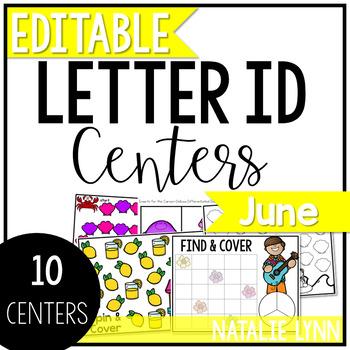 June Alphabet Centers: Editable Letter ID Centers