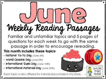 June BUNDLE of Weekly Reading Passage and Questions (4 Included)
