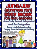 June Busy Work Pack for First Graders {SUMMER FUN}