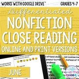 June COMBO Differentiated Nonfiction Close Reading Texts a