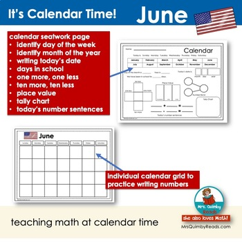 June Calendar Activities - Math and Literacy