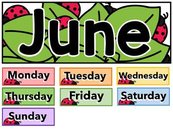 "June Calendar Cards - 3"" x 3"" - Free - Spring"