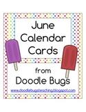 June Calendar Cards * Free * celebrate Ice Cream & Summer