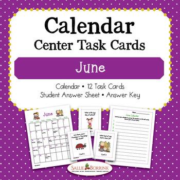 June Calendar Center Task Cards - Calendar Activity