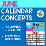 June Calendar Concepts: Following Directions & Answering Wh-Questions
