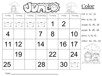 June Calendar Number Writing Practice