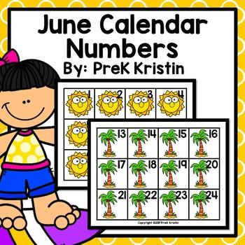 June (Summer Themed) Calendar Numbers