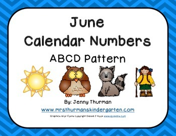 June Calendar Numbers ABCD Pattern