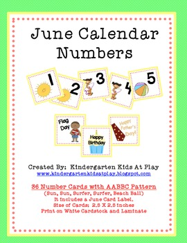 June Calendar Numbers with Pattern