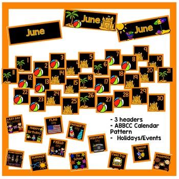 June Calendar Pieces - Black Set