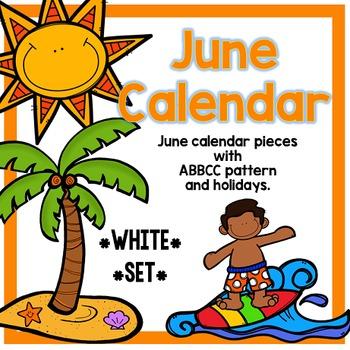 June Calendar Pieces - White Set