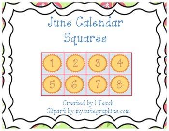June Calendar Squares