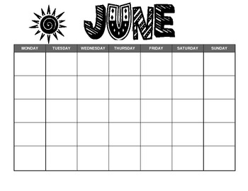 June Calendar Template by Kristen Hinnegan | Teachers Pay Teachers