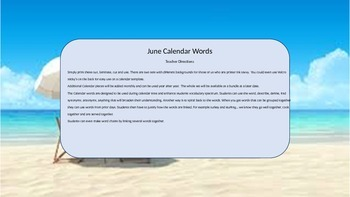 June Calendar & Daily Vocabulary