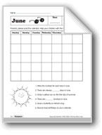 June Calendar and Summer Language Activities