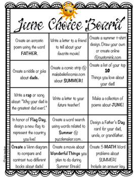 June Choice Board