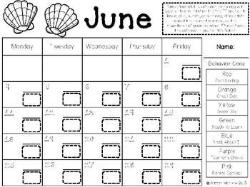 June Clip Chart Behavior Calendar