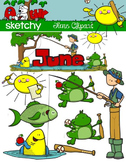 June Clipart / Graphics and Monthly Header
