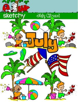 July Clipart / Graphics and Monthly Header