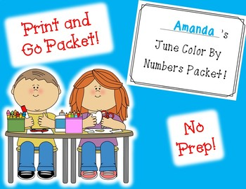 June Color By Numbers Packet! PRINT AND GO!