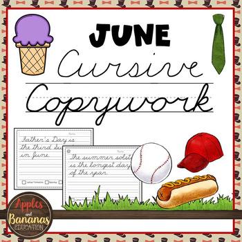 June Cursive Copywork Handwriting Practice