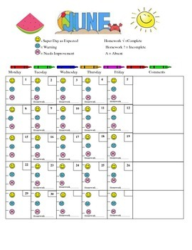 June Daily Behavior Chart