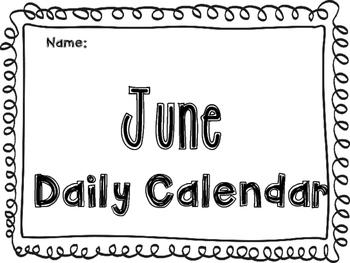 June Daily Calendar Activity Journal