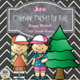 June Daily Calendar Review and Math Practice