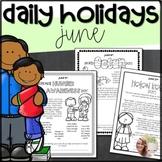 June Daily Holidays and Celebrations- NO PREP!