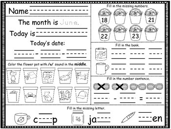 June Daily Math and Reading Morning Work/Homework