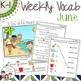 June Daily Weekly Thematic Vocabulary Word Work