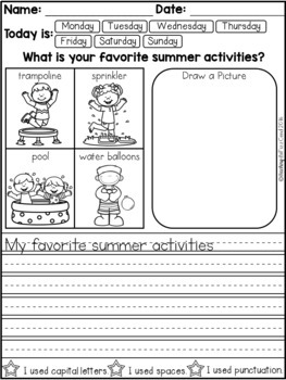 June Daily Writing Prompts for Beginning Writers (Summer Writing Activities)