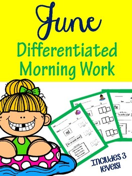 June Differentiated Morning Work Pre-Primer For Special Education