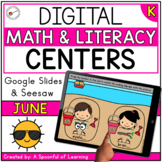 June Digital Centers for Kindergarten - Math & Literacy |